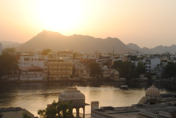 sunset view from my hostel rooftop in Udaipur
