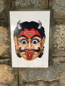 Masks and images like this one can be found on houses throughout the city. It is believed that a scary face such as this one will keep away bad spirits. I found this one on a wall with other pictures of Hindu gods, Christian and Muslim iconography. It was explained to me that this was done to prevent people from throwing garbage over the wall. You wouldn't want to offend god by throwing trash in their area.
