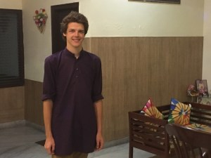 Me wearing the kurta I got in Varanasi