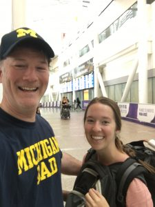 Double-backpacking and reuniting with my Dad at the airport after 35 hours of transit. He was in all his Michigan gear!
