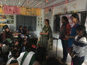 Youth Sexual and Reproductive Health Seminar at a local government primary school, lead by Mrs. Raddika (FPAI – Hyderabad educational programme manager) and JNTU students
