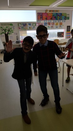 Ryan and Farook dressed up as old men.