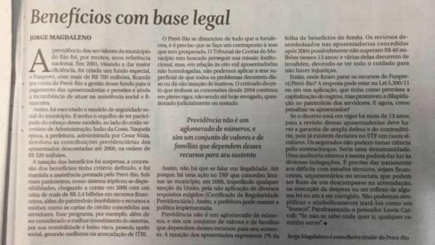 Parabéns Conselheiro Jorge Magdaleno, defendendo os servidores no Conselho do Previ Rio. Dessa forma requer também a auditoria do Previ Rio / FUNPREVI.