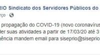 Considerando a propagação do COVID-19 (novo coronavírus) o SISEP RIO resolve suspender suas atividades a partir de 17/03/20 até 31/05/20. Qualquer emergência mandem email para siseprio@siseprio.org.br.