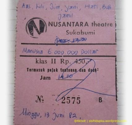 Potongan karcis bioskop Nusantara.