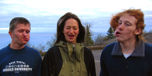 Dane, Laura and Pat, making really weird faces at Palisade Head in Northern Minnesota