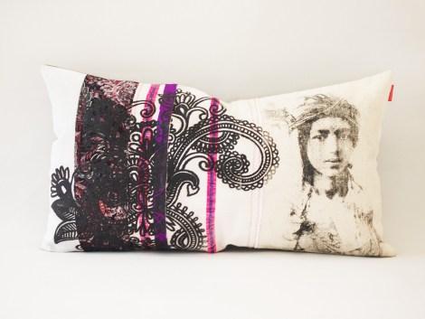 Coussin Ouafa violet et noir / collection berbère – sissimorocco