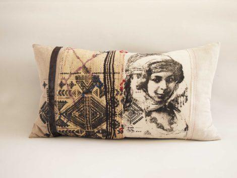 Coussin Malika noir et beige – collection berbère – sissimorocco