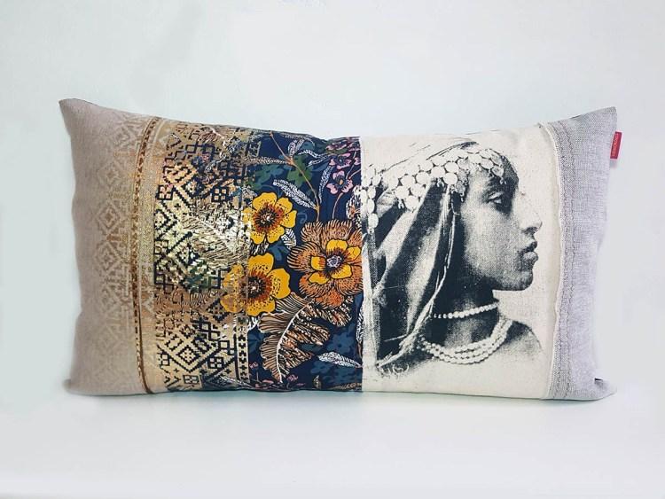 Coussin Laila Fleur et Doré - collection berbère - sissimorocco
