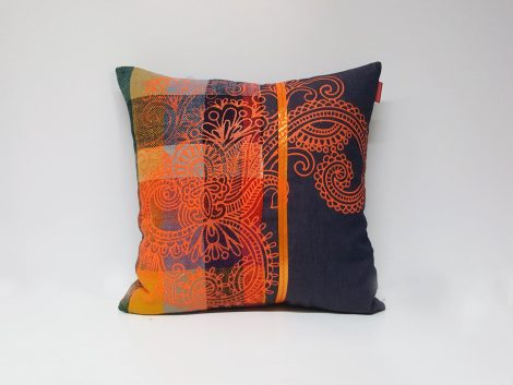 Housse Coussin Patchwork Orange Jean