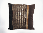 housse coussin patchwork or marron