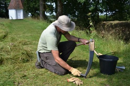 Pete Sharpening the scythe