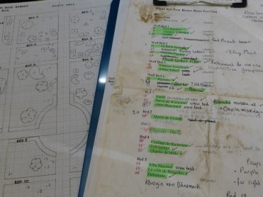 A list of the new roses and a rough plan showing the location of all the other roses in the Rose Garden