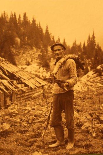 A traditional Alpine farmer