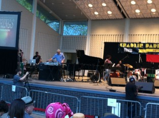 Mark DeClive Lowe at Marcus Garvey Park, Harlem NYC joined Miguel Atwood Furguson for an evening of strings--The 20th anniversay jazz festival f/Charlie Parker strings (Mark played piano, in the blue shirt)