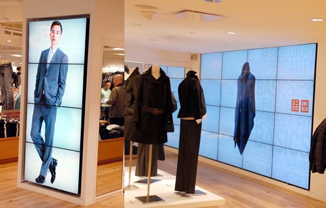 Videowall en vertical para tienda de ropa similar a los instalados por SistemasAudiovisuales - VisualPlanet