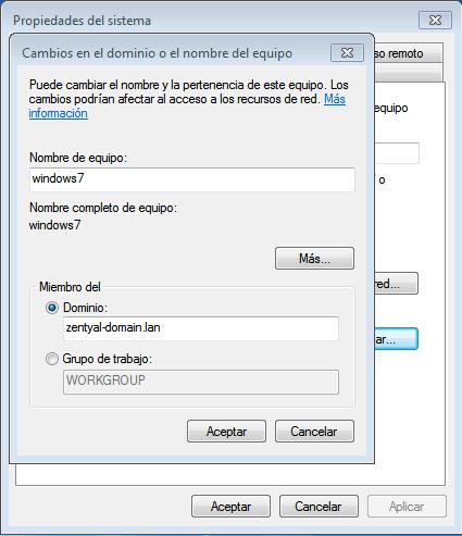 Incluir cliente en dominio Windows