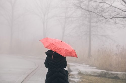person with red umbrella walking in the rain