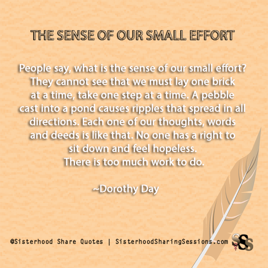 Sense Of Our Small Effort