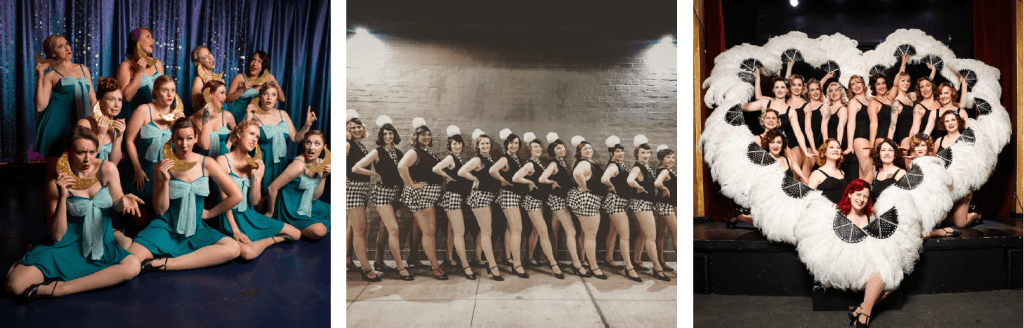 Images of the Denver Diamond Dolls, NOLA Chorus Girls, and Sister Kate Dance Company