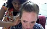 Sister Da Luz Braiding Kendall's Hair