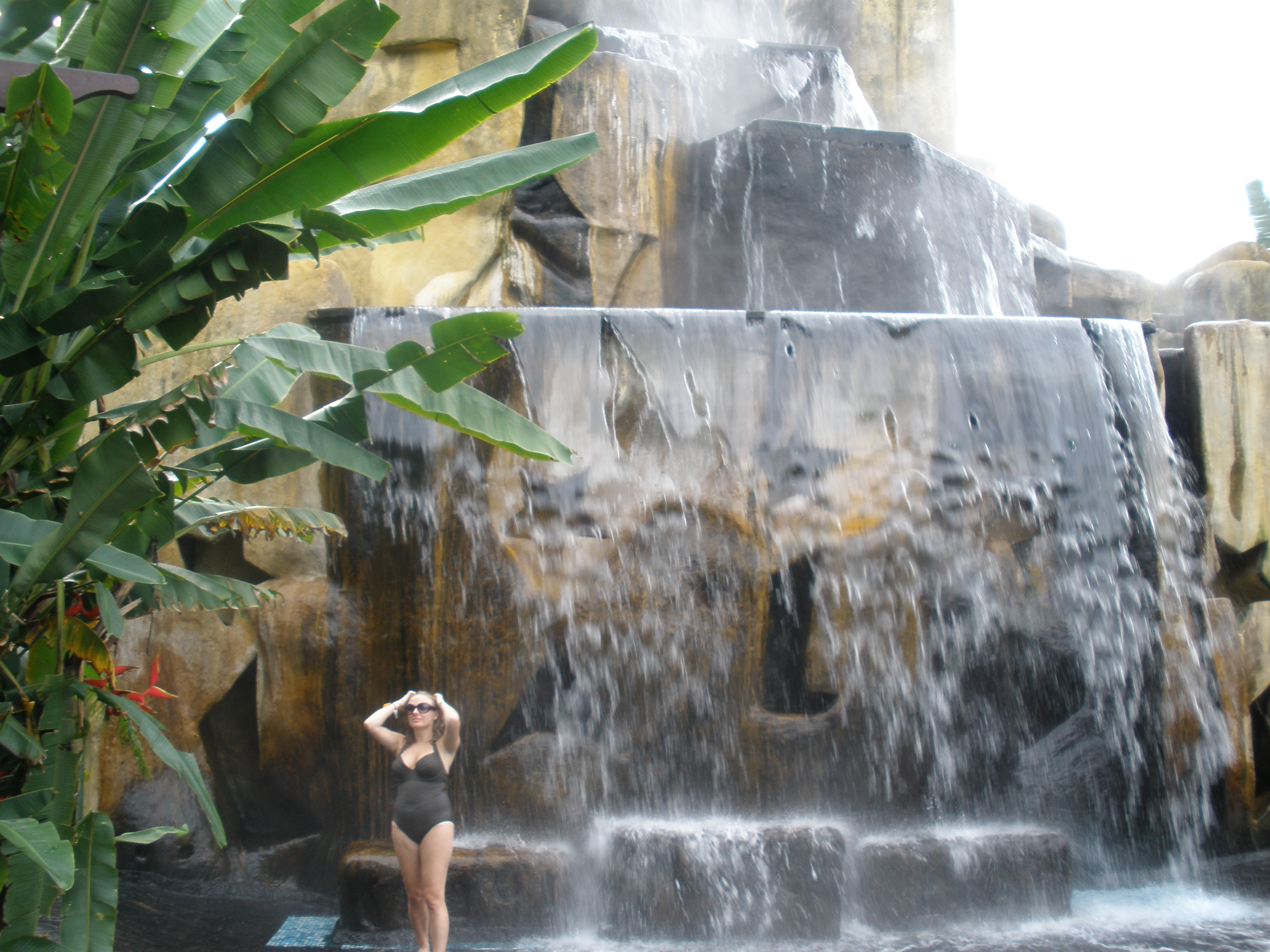 Under a waterfall at the springs