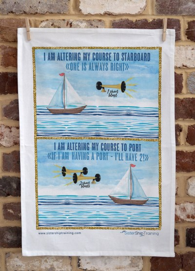 Collision Regulations Sounds and Shapes tea towel gift