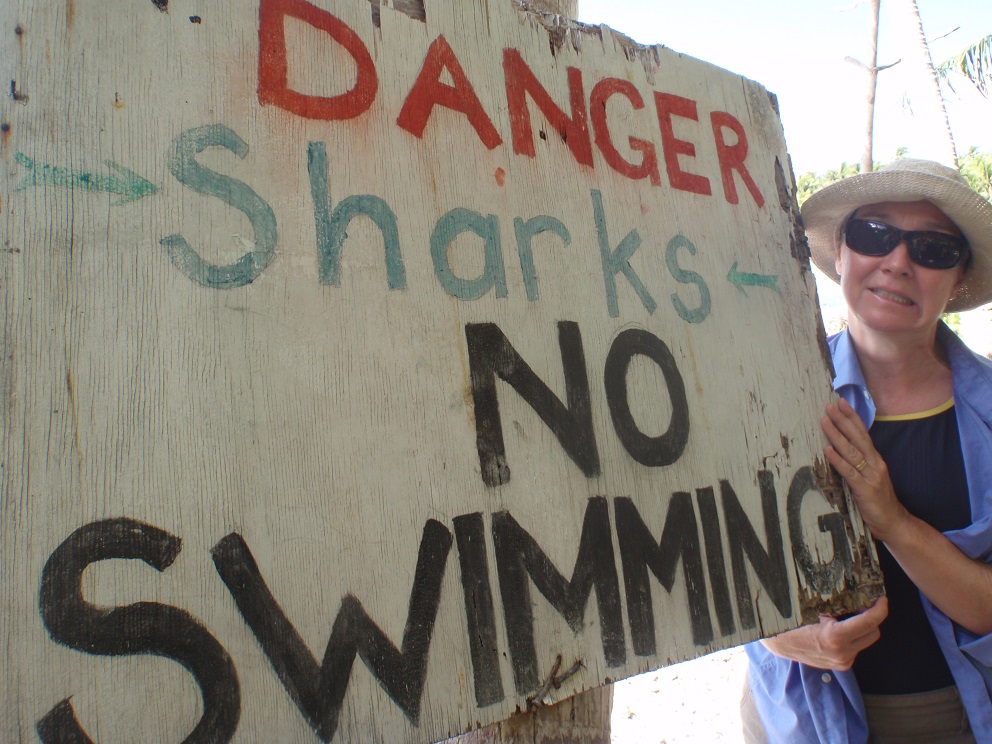 Danger - Sharks - No Swimming - on the windward side of Anchorage Island