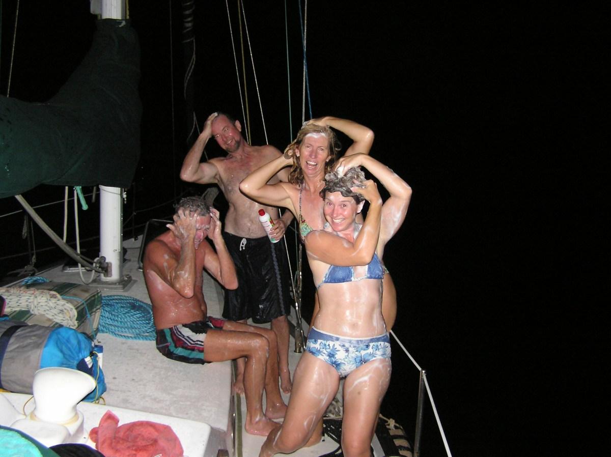 A salt water lake - luxury! Mid-way Panama Canal