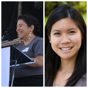 Profile photo of Evelyn Valdez-Ward (at a podium) next to a photo of Linh Anh Cat (headshot).