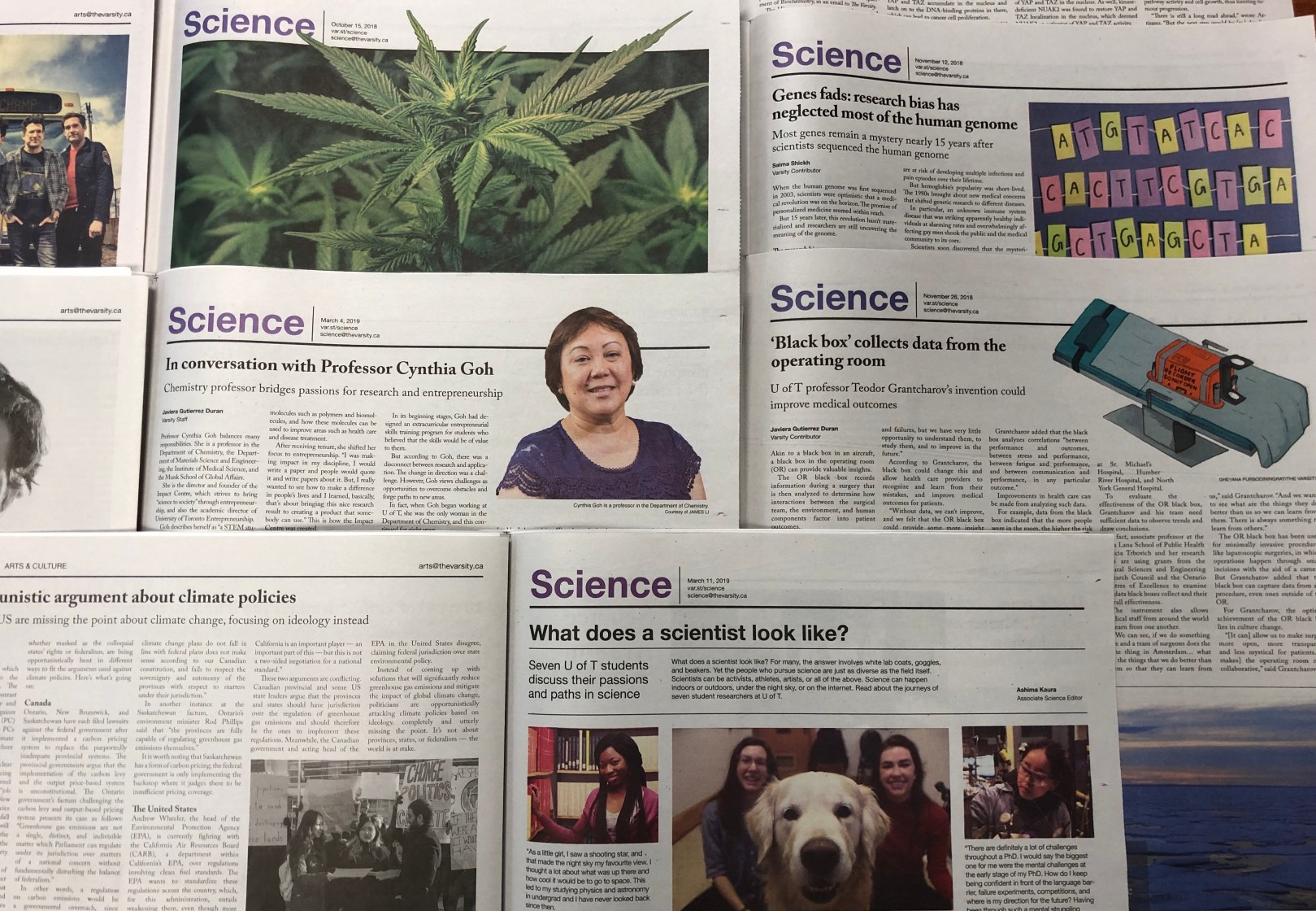 Spreads from The Varsity (student newspaper at University of Toronto) displaying various science headlines.