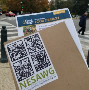 Photo of paper materials that say Rhode Island Food Strategy and Northeast Sustainable Agriculture Working Group