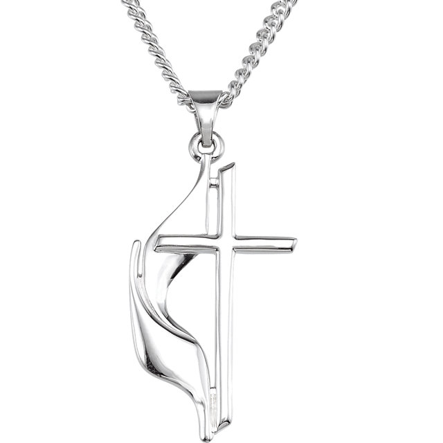 Small Methodist Cross & Flame Necklace