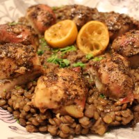 Za'atar Chicken Thighs and Lemony Lentils