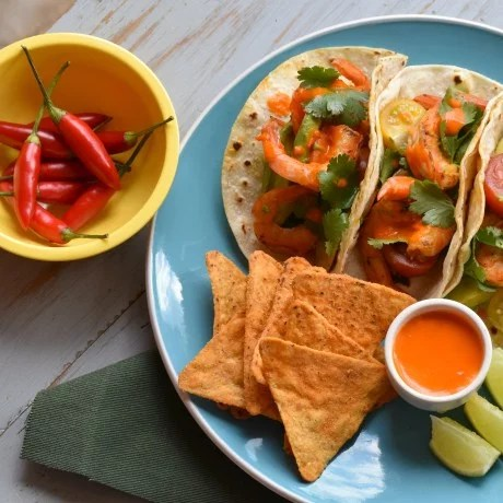 Prawn tacos with chilli paste