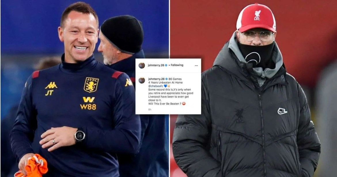 Liverpool 0-1 Burnley: John Terry reacts on Instagram after the Reds lose  home record | GiveMeSport