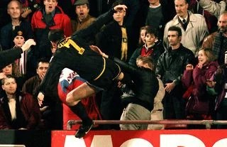 I was banned for nine months. Eric Cantona S Kung Fu Kick Vs Crystal Palace Man United Icon Reveals His One Regret Givemesport
