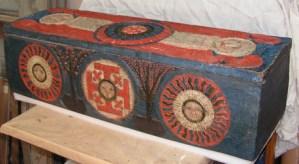 Christ au tombeau, sarcophage, bois sculpté polychrome début 19ème