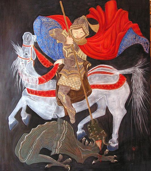 Saint Georges, création de l'atelier, bois doré et polychromé