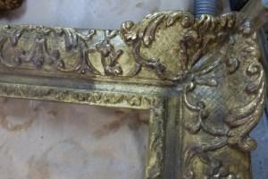tests de nettoyages d'un cadre doré