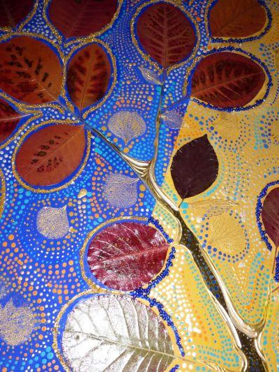 Il y avait un jardin, feuilles d'or, couleurs à la colle, collages, grand format