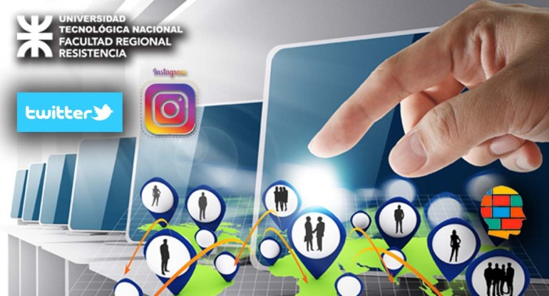 hand point to social network icon computer room