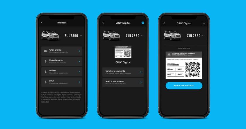telas do app zul+ em crlv digital