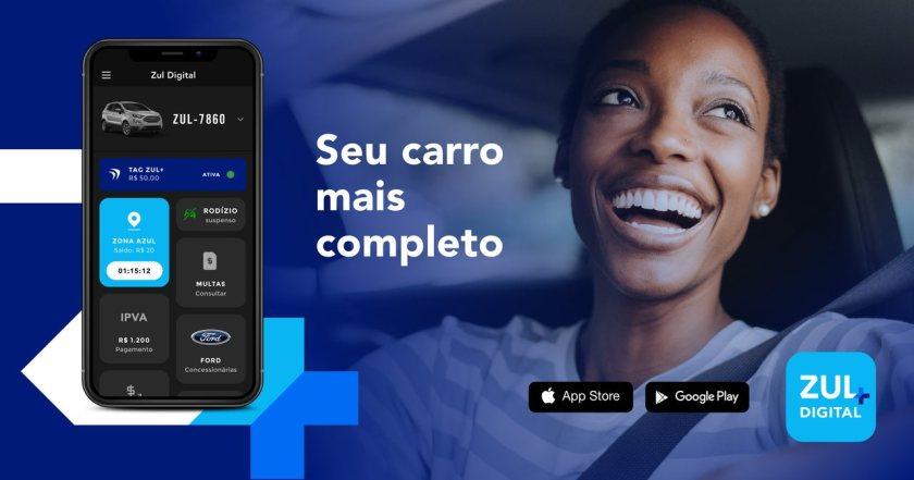 banner mulher sorrindo dentro do carro e celular no app zul+ com texto seu carro mais completo