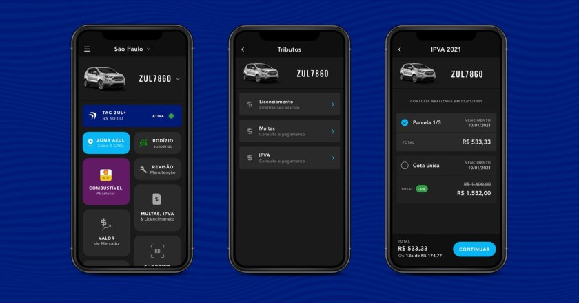telas do app zul+ em pagamento do IPVA 2021 SP