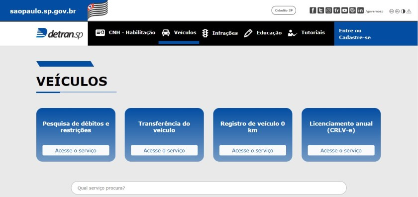 tela de consulta de débitos do veículo online no site do detran
