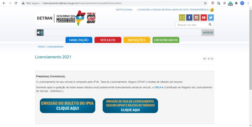 portal de serviços detran maranhao licenciamento
