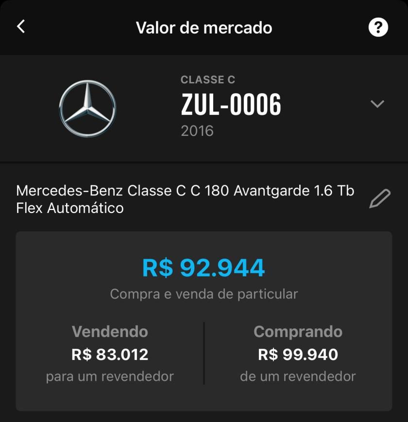 valor de mercado mercedes benz c180 2016