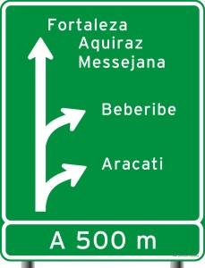 placa de indicação de destino