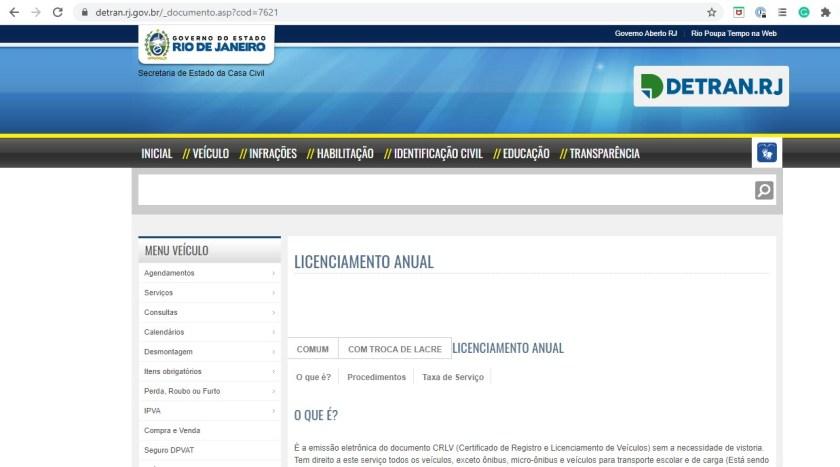 site detran rj licenciamento anual